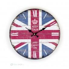 Keep calm and carry on feliratú brit zászlós falióra