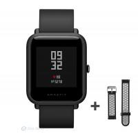 Xiaomi Amazfit Bip fitnesz okosóra GPS (EU verzió) - fekete + ajándék fekete-szürke szíj