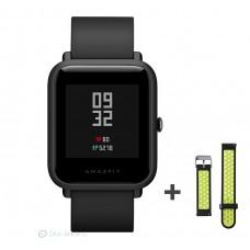 Xiaomi Amazfit Bip fitnesz okosóra GPS (EU verzió) - sötétszürke + ajándék fekete-zöld szíj