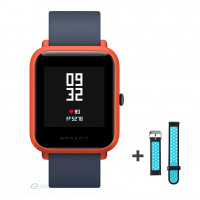 Xiaomi Amazfit Bip fitnesz okosóra GPS (EU verzió) - piros + ajándék fekete-kék szíj