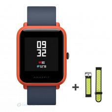 Xiaomi Amazfit Bip fitnesz okosóra GPS (EU verzió) - piros + ajándék fekete-zöld szíj
