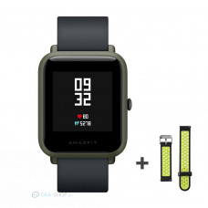 Xiaomi Amazfit Bip fitnesz okosóra GPS (EU verzió) - sötétzöld + ajándék fekete-zöld szíj