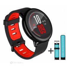 Xiaomi Amazfit Pace fitnesz okosóra GPS (EU verzió) - Fekete + ajándék fekete-kék szíj