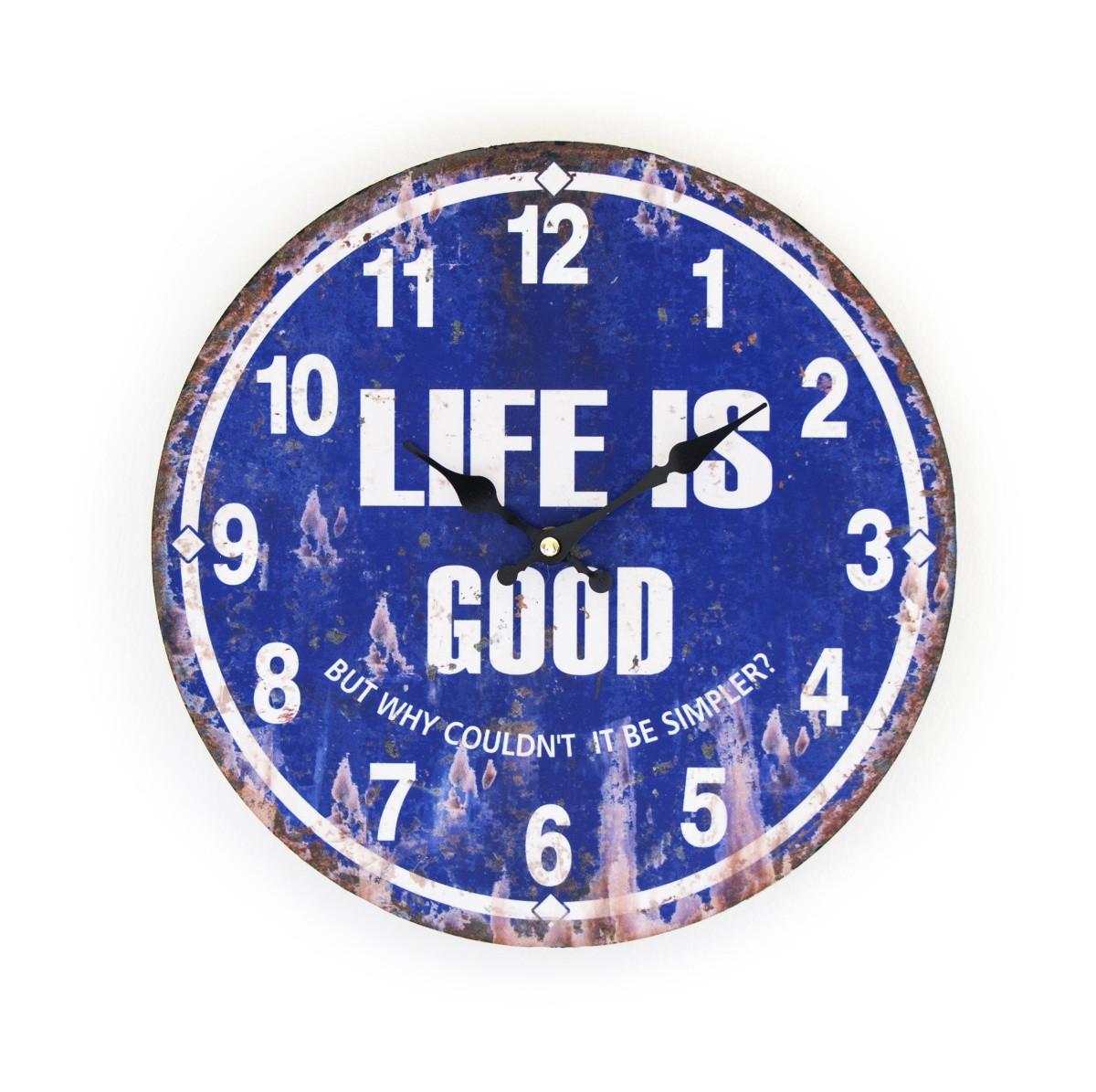 Life is Good feliratú fém hatású falióra