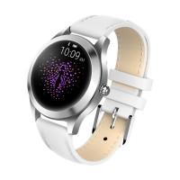 KingWear KW10 pulzusmérős női okosóra ezüst színben bőrszíjjal