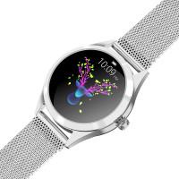 KingWear KW10 pulzusmérős női okosóra ezüst színben fémszíjjal