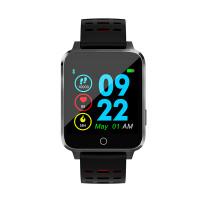 Microwear X9 szögletes vízálló okosóra pulzusmérővel - fekete-piros