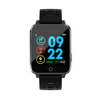 Microwear X9 szögletes vízálló okosóra pulzusmérővel - fekete-sárga