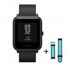 Xiaomi Amazfit Bip fitnesz okosóra GPS (EU verzió) - fekete + ajándék fekete-kék szíj