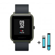 Xiaomi Amazfit Bip fitnesz okosóra GPS (EU verzió) - sötétzöld + ajándék fekete-kék szíj