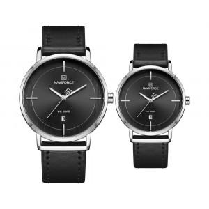 Naviforce minimál design páros karóra fekete színben - szett
