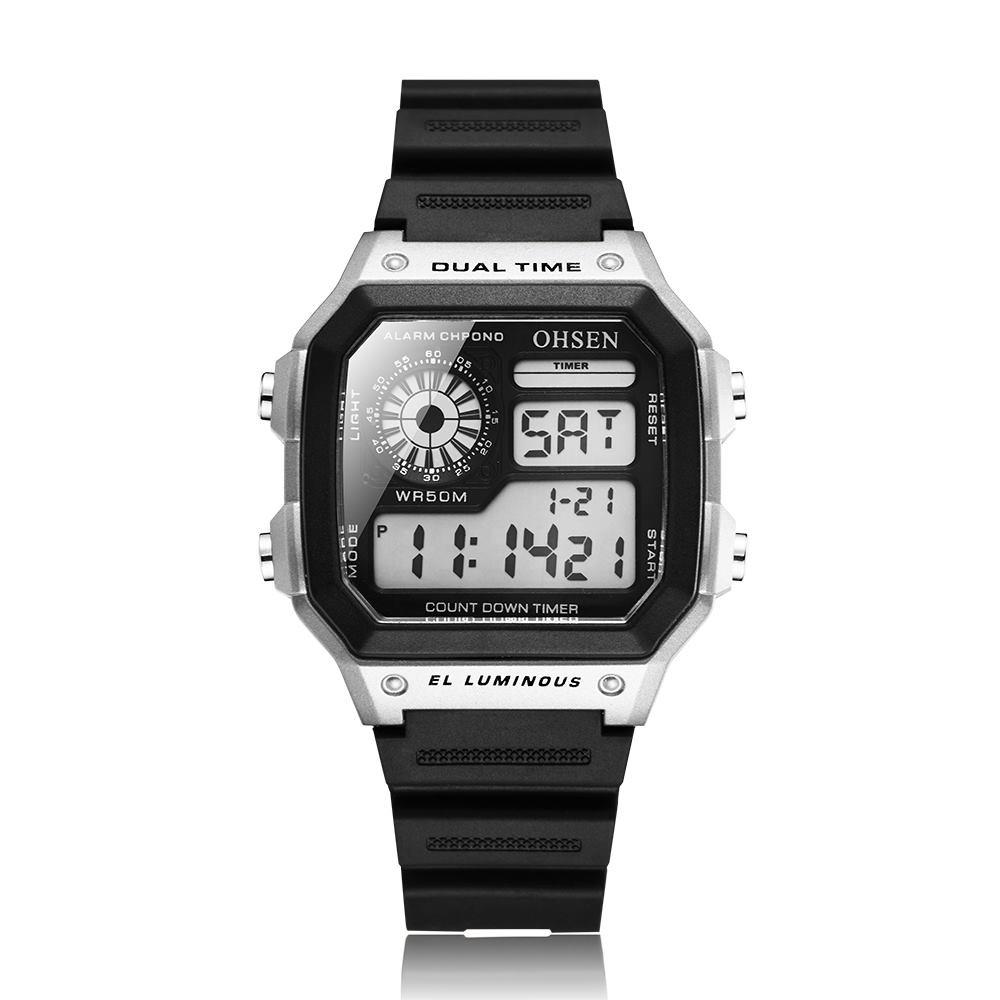 Ohsen retro vízálló LCD karóra gumi szíjjal - ezüst - férfi karórák ... a5f1aa797f