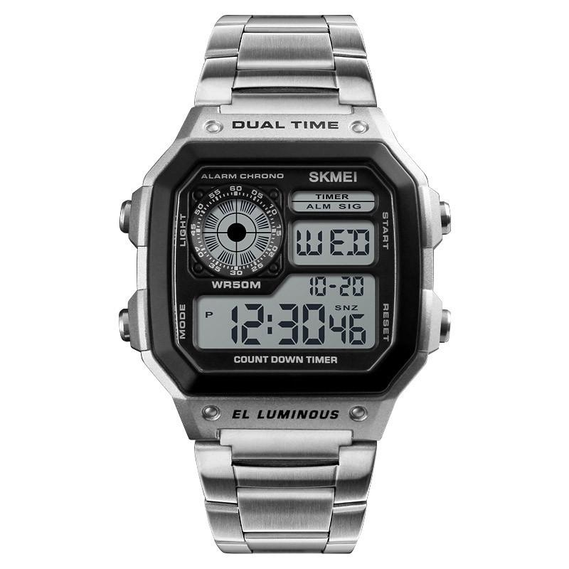 Skmei vízálló retro digitális LCD karóra - ezüst - férfi karórák ... 86fa1ab151