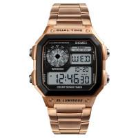 Skmei vízálló retro digitális LCD karóra - rozé-arany 8bc23722b1