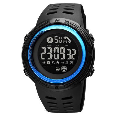 Skmei hagyományos LCD sport karóra pulzusmérővel Bluetooth modullal - kék