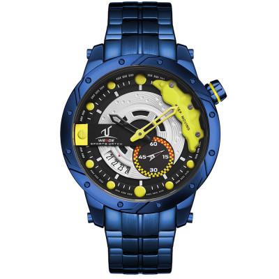 Weide Racing Design kék-sárga férfi karóra szilikonszíjjal