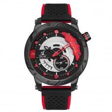 Weide Racing Design piros-fekete férfi karóra szilikonszíjjal