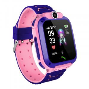Bakeey Q12 GSM 2G gyerek okosóra telefon funkciókkal rózsaszín színben