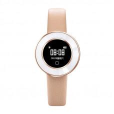 Microwear X6 ékszer okosóra csajoknak bőrszíjjal - rozé-arany