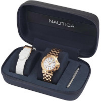 NAUTICA NAPPRH006 rosegold színű női karóra ajándék fehér gumiszíjjal díszdobozban
